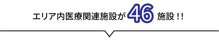 エリア内医療関連施設が46施設