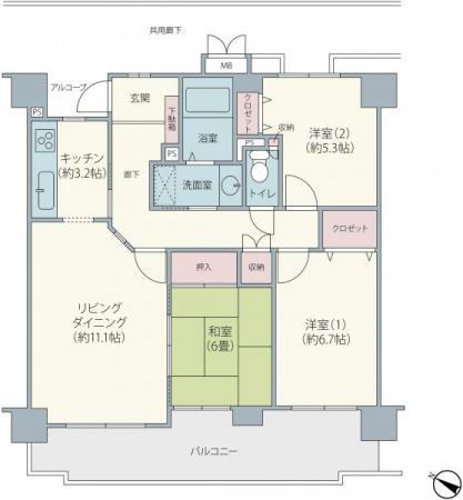 中古マンションヒルトップユーカリが丘3階 室内きれいな物件です千葉県佐倉市ユーカリが丘5丁目山万ユーカリが丘線女子大駅1290万円